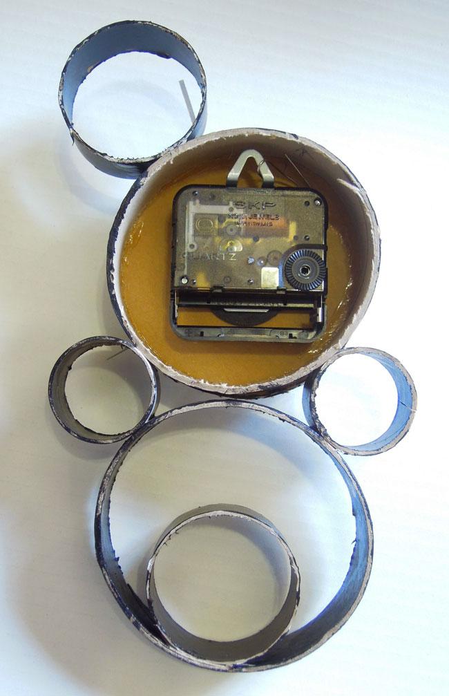 紙管で時計工作