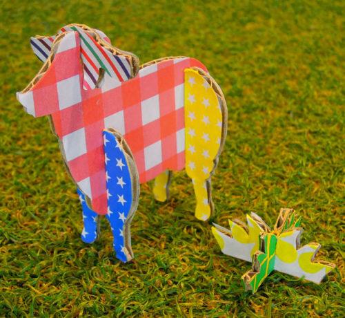 カラフル折り紙の羊ダンボールハガキおもちゃ