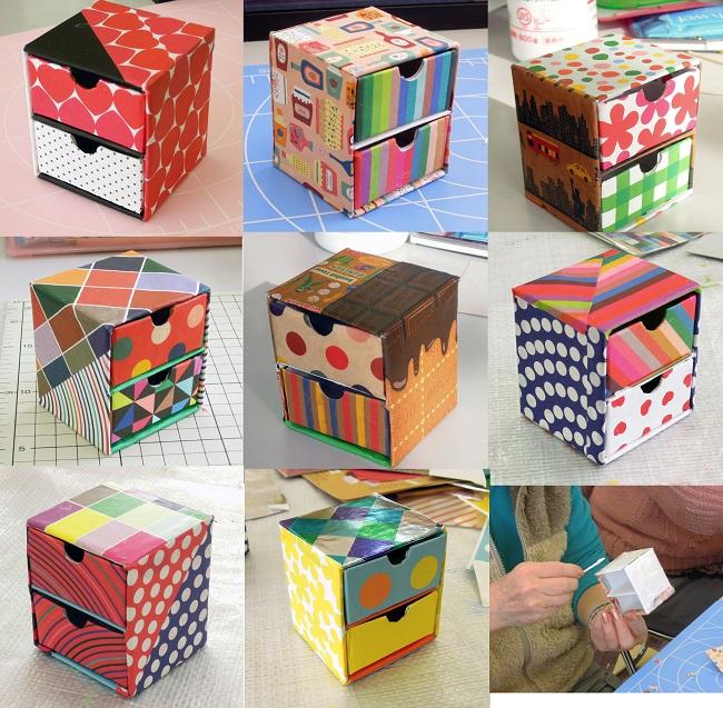 カラフル折り紙でミニ・チェスト