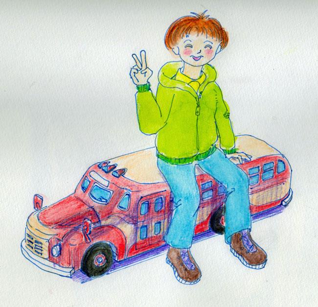 ボンネットバスのイラスト